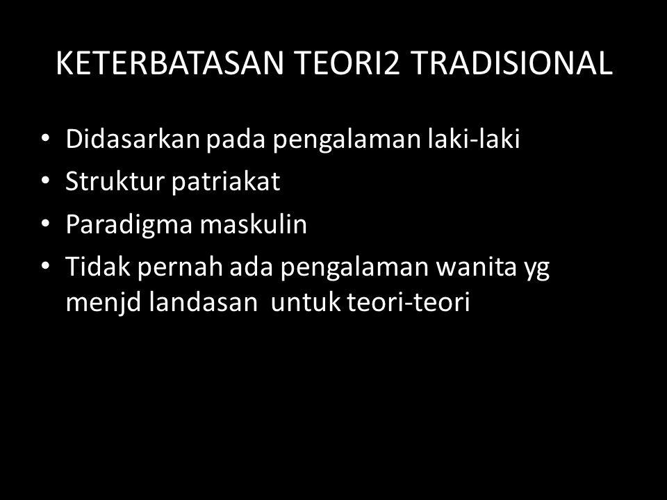 KETERBATASAN TEORI2 TRADISIONAL Didasarkan pada pengalaman laki-laki Struktur patriakat Paradigma maskulin Tidak pernah ada pengalaman wanita yg menjd