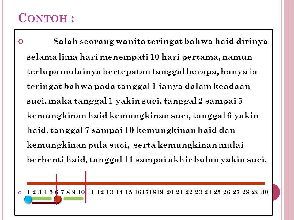 C ONTOH : Salah seorang wanita teringat bahwa haid dirinya selama lima hari menempati 10 hari pertama, namun terlupa mulainya bertepatan tanggal berap