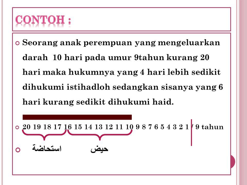 Seorang anak perempuan yang mengeluarkan darah 10 hari pada umur 9tahun kurang 20 hari maka hukumnya yang 4 hari lebih sedikit dihukumi istihadloh sed