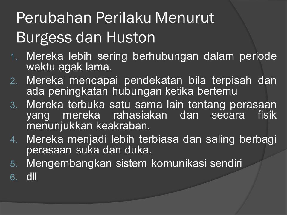 Perubahan Perilaku Menurut Burgess dan Huston 1.