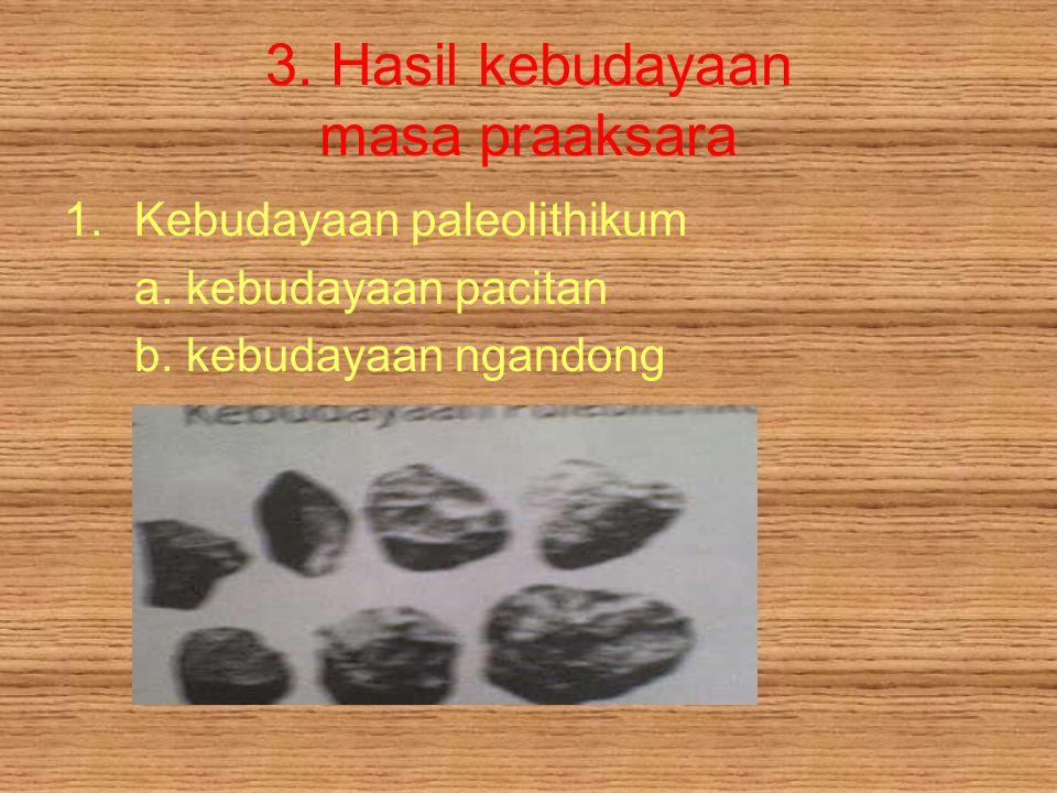 3.Hasil kebudayaan masa praaksara 1.Kebudayaan paleolithikum a.
