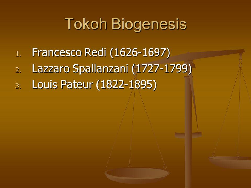 Tokoh Biogenesis 1.Francesco Redi (1626-1697) 2. Lazzaro Spallanzani (1727-1799) 3.