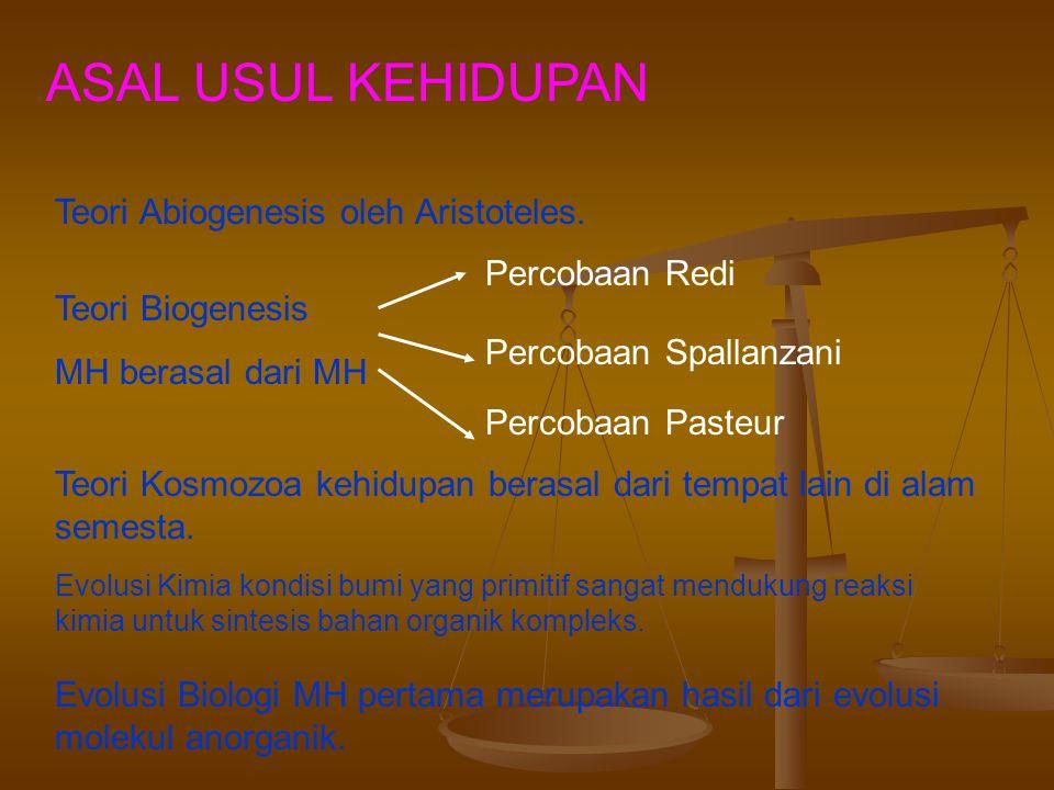 Teori Asal Usul Kehidupan Ada banyak teori, diantaranya adalah: 1. Teori Abiogenesis / generatio spontanea 2. Teori Biogenesis