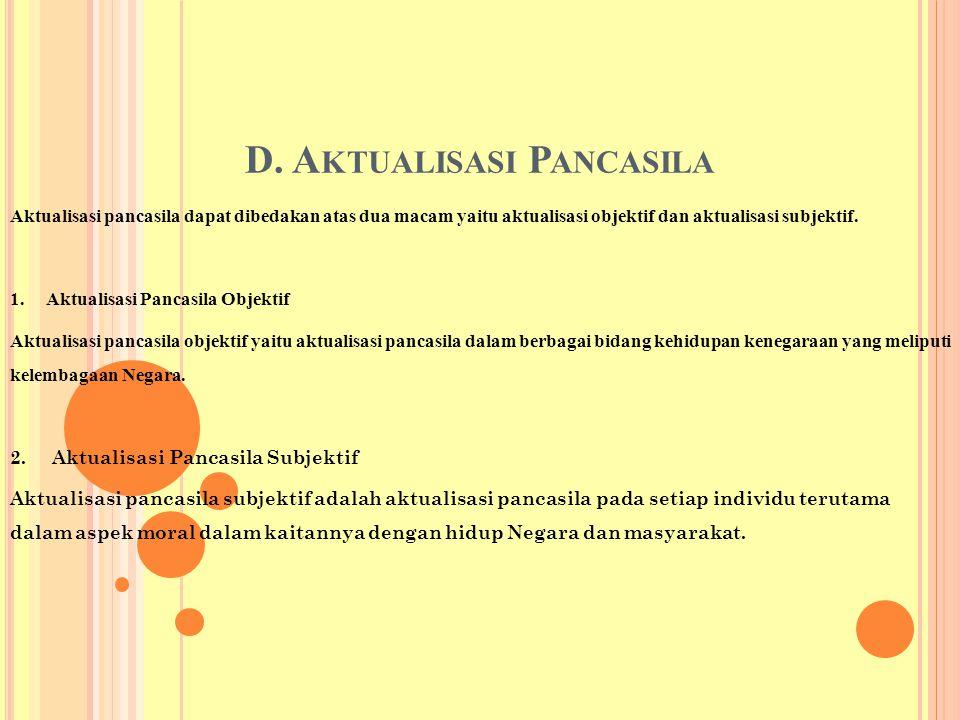 D. A KTUALISASI P ANCASILA Aktualisasi pancasila dapat dibedakan atas dua macam yaitu aktualisasi objektif dan aktualisasi subjektif. 1. Aktualisasi P