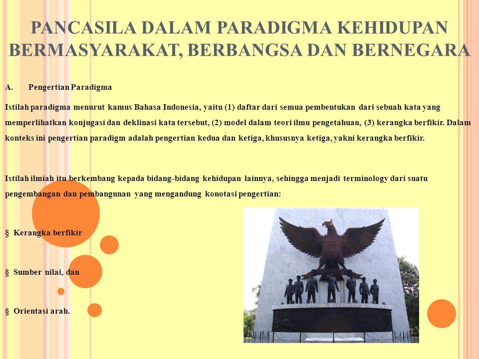PANCASILA DALAM PARADIGMA KEHIDUPAN BERMASYARAKAT, BERBANGSA DAN BERNEGARA A. Pengertian Paradigma Istilah paradigma menurut kamus Bahasa Indonesia, y