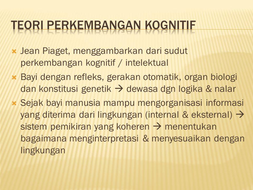  Jean Piaget, menggambarkan dari sudut perkembangan kognitif / intelektual  Bayi dengan refleks, gerakan otomatik, organ biologi dan konstitusi gene