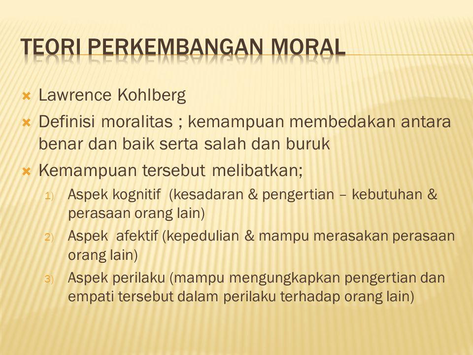 Lawrence Kohlberg  Definisi moralitas ; kemampuan membedakan antara benar dan baik serta salah dan buruk  Kemampuan tersebut melibatkan; 1) Aspek