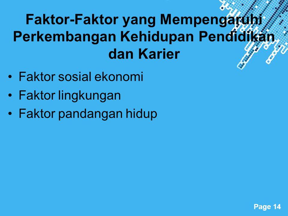 Powerpoint Templates Page 14 Faktor-Faktor yang Mempengaruhi Perkembangan Kehidupan Pendidikan dan Karier Faktor sosial ekonomi Faktor lingkungan Fakt