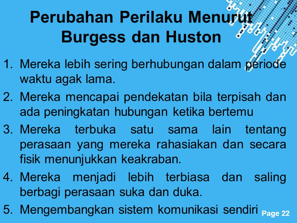Powerpoint Templates Page 22 Perubahan Perilaku Menurut Burgess dan Huston 1.Mereka lebih sering berhubungan dalam periode waktu agak lama. 2.Mereka m