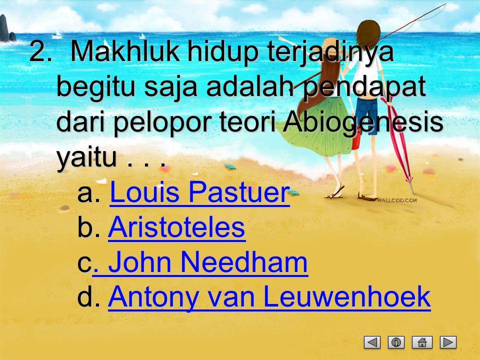 Soal Abiogenesis 1. Dibawah ini tokoh yang bukan merupakan pelopor teori Abiogenesis adalah... Antony van Leuwenhoek Antony van Leuwenhoek a. Antony v