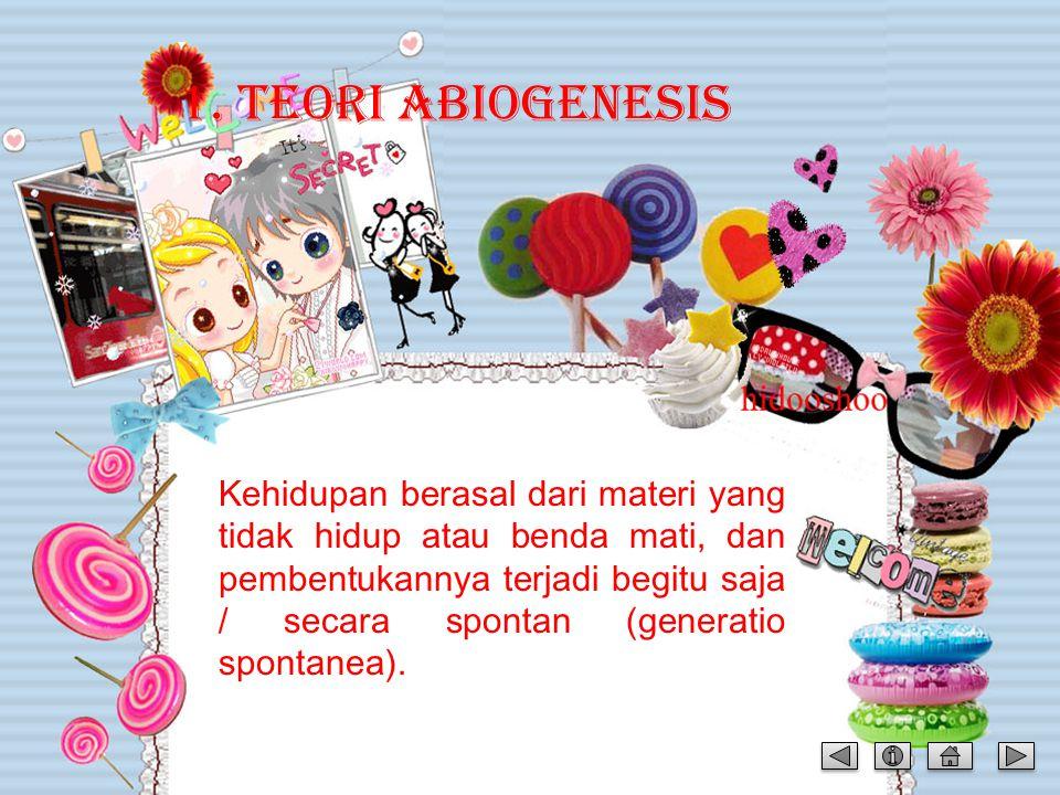 MATERI TEORI ASAL USUL KEHIDUPAN: 1.Teori Abiogenesis / generatio spontanea Teori Abiogenesis / generatio spontaneaTeori Abiogenesis / generatio spont