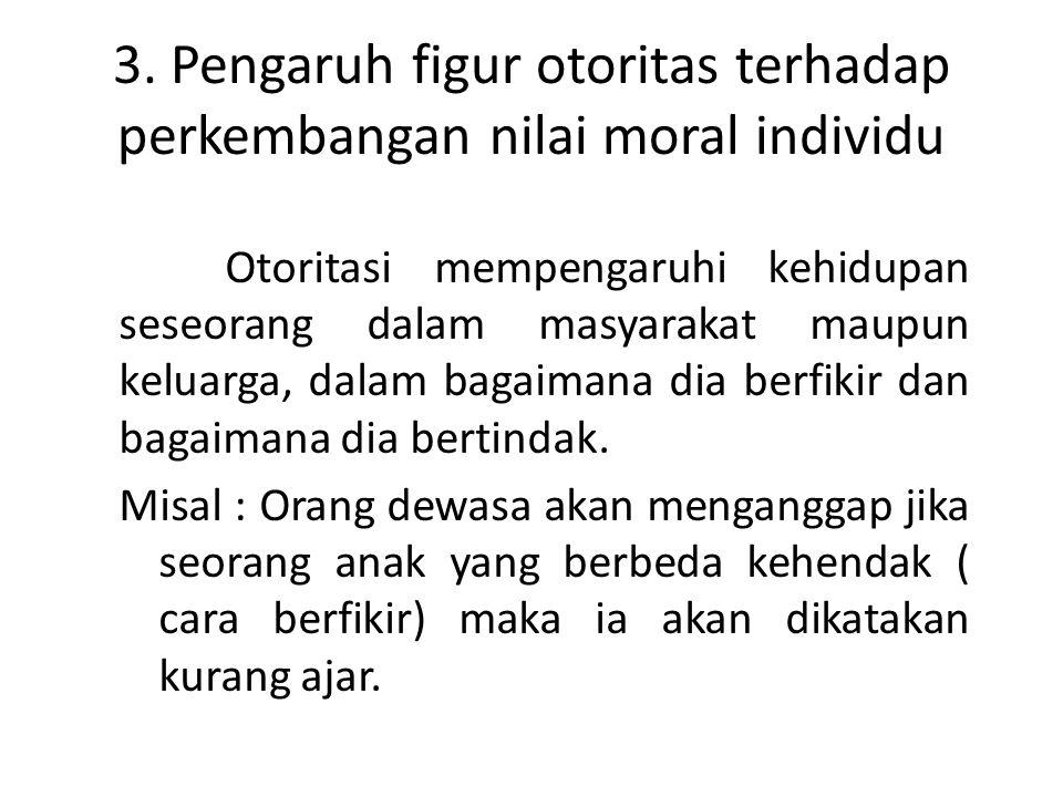 3. Pengaruh figur otoritas terhadap perkembangan nilai moral individu Otoritasi mempengaruhi kehidupan seseorang dalam masyarakat maupun keluarga, dal