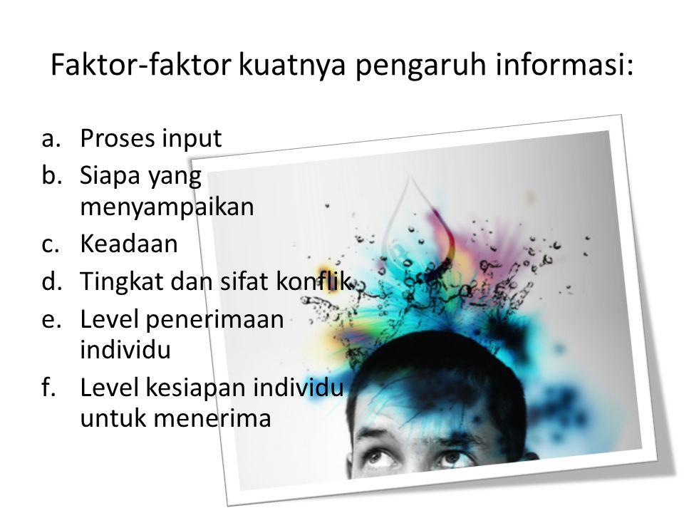 Faktor-faktor kuatnya pengaruh informasi: a.Proses input b.Siapa yang menyampaikan c.Keadaan d.Tingkat dan sifat konflik e.Level penerimaan individu f.Level kesiapan individu untuk menerima