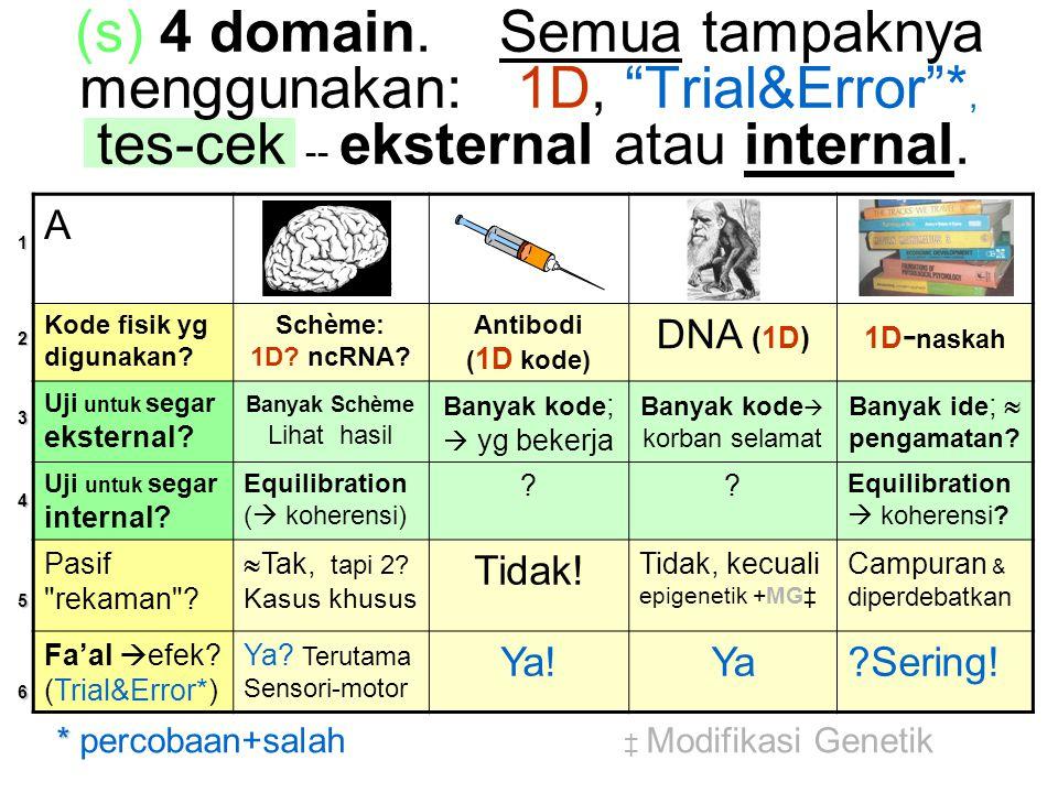 (s) 4 domain. Semua tampaknya menggunakan: 1D, Trial&Error *, tes-cek -- eksternal atau internal.