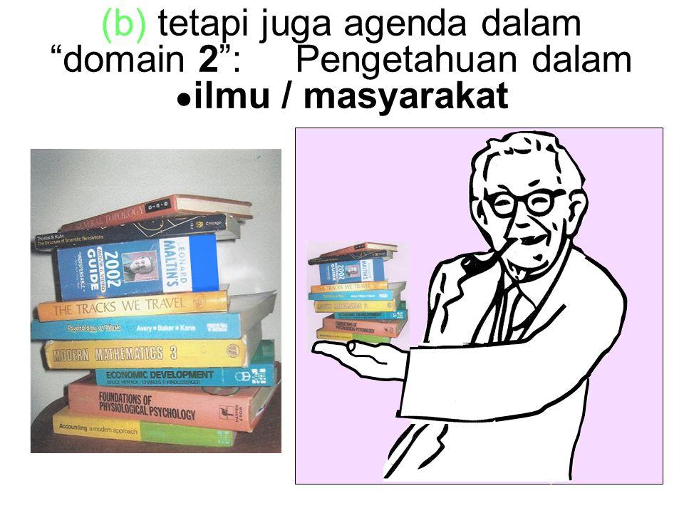 (b) tetapi juga agenda dalam domain 2 : Pengetahuan dalam ● ilmu / masyarakat