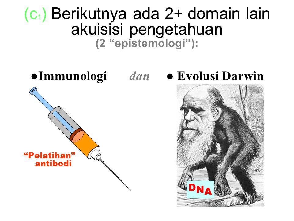 (c 1 ) Berikutnya ada 2+ domain lain akuisisi pengetahuan (2 epistemologi ): ●Immunologi dan ● Evolusi Darwin Pelatihan antibodi DNADNA