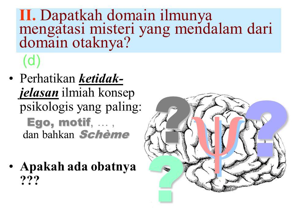 (d) Perhatikan ketidak- jelasan ilmiah konsep psikologis yang paling: Ego, motif, Schème x Ego, motif, …, dan bahkan Schème Apakah ada obatnya ??.