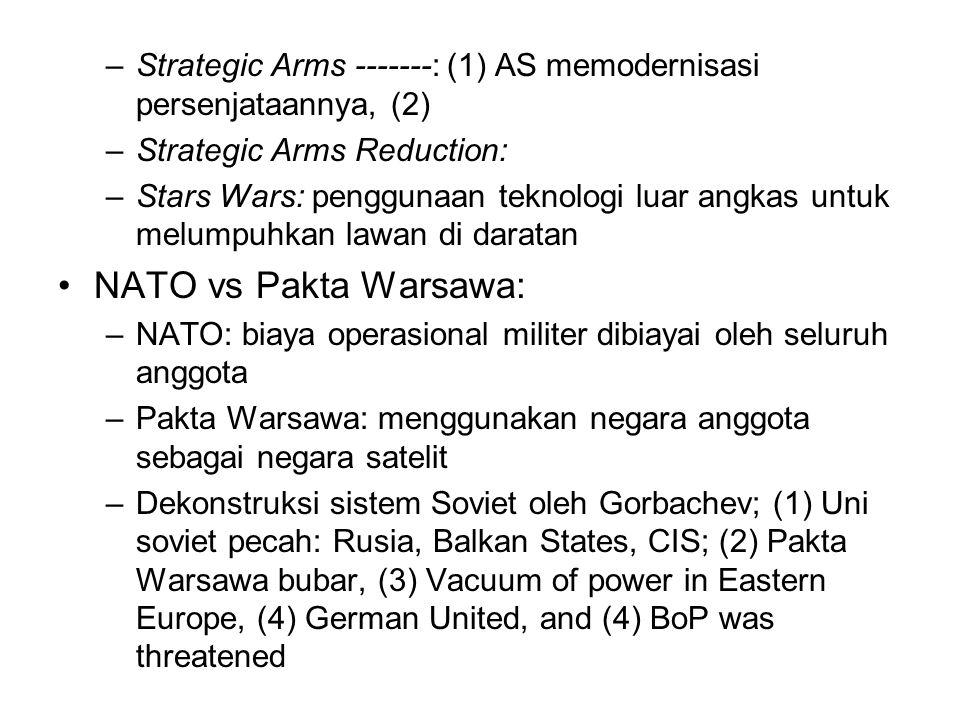 –Strategic Arms -------: (1) AS memodernisasi persenjataannya, (2) –Strategic Arms Reduction: –Stars Wars: penggunaan teknologi luar angkas untuk melumpuhkan lawan di daratan NATO vs Pakta Warsawa: –NATO: biaya operasional militer dibiayai oleh seluruh anggota –Pakta Warsawa: menggunakan negara anggota sebagai negara satelit –Dekonstruksi sistem Soviet oleh Gorbachev; (1) Uni soviet pecah: Rusia, Balkan States, CIS; (2) Pakta Warsawa bubar, (3) Vacuum of power in Eastern Europe, (4) German United, and (4) BoP was threatened