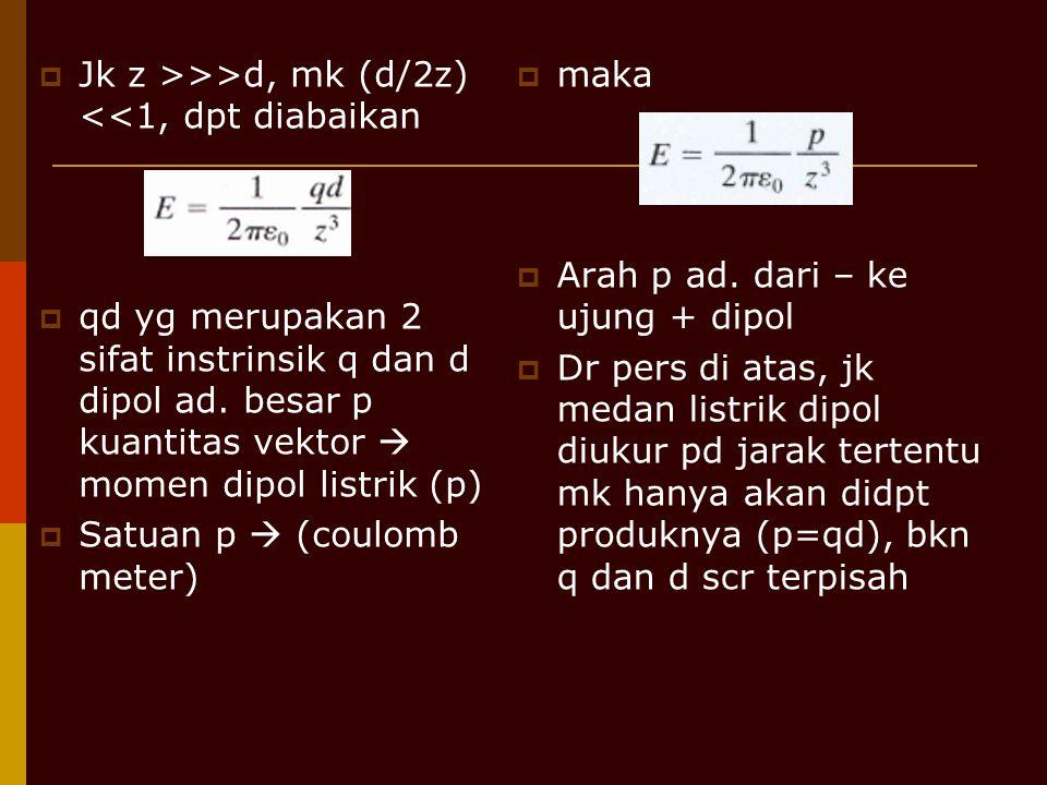  Jk z >>>d, mk (d/2z) <<1, dpt diabaikan  qd yg merupakan 2 sifat instrinsik q dan d dipol ad. besar p kuantitas vektor  momen dipol listrik (p) 