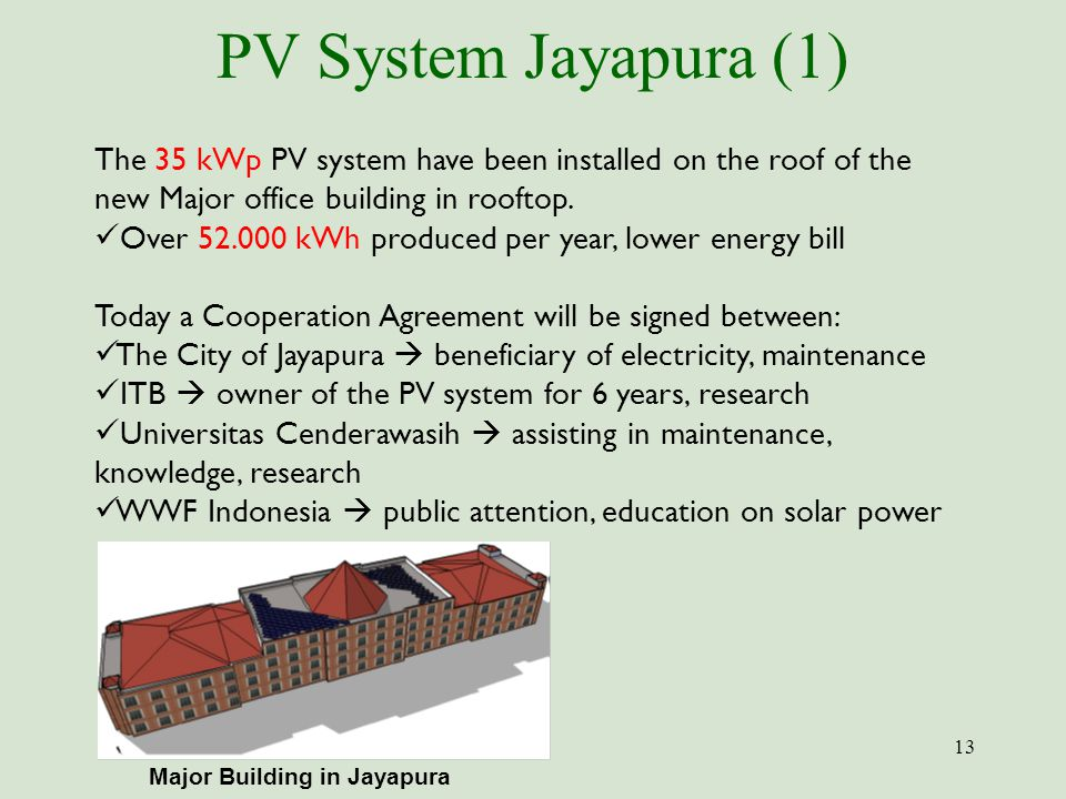 PV System Jayapura (1) 13 The 35 kWp PV system have been installed on the roof of the new Major office building in rooftop. Over 52.000 kWh produced p