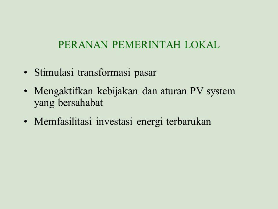 PERANAN PEMERINTAH LOKAL Stimulasi transformasi pasar Mengaktifkan kebijakan dan aturan PV system yang bersahabat Memfasilitasi investasi energi terba