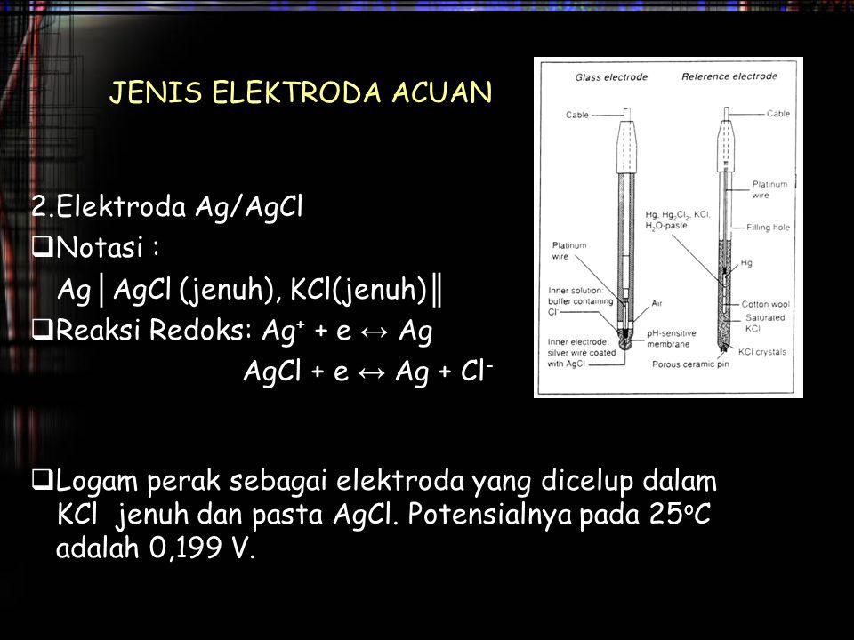 JENIS ELEKTRODA ACUAN 2.Elektroda Ag/AgCl  Notasi : Ag │ AgCl (jenuh), KCl(jenuh) ║  Reaksi Redoks: Ag + + e ↔ Ag AgCl + e ↔ Ag + Cl -  Logam perak