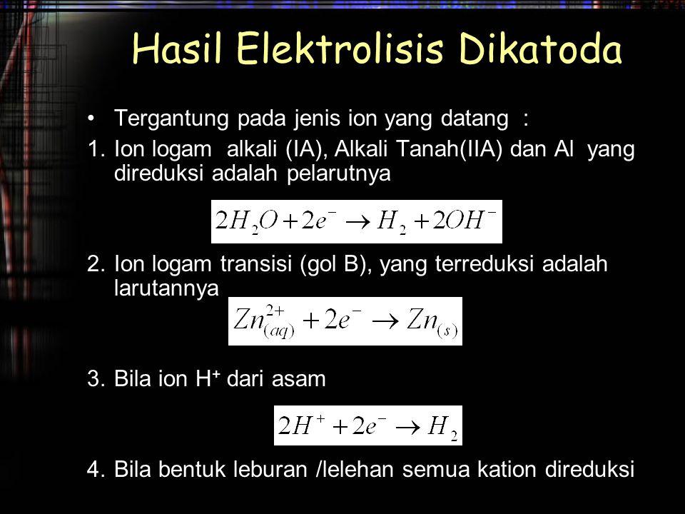 Hasil Elektrolisis Dikatoda Tergantung pada jenis ion yang datang : 1.Ion logam alkali (IA), Alkali Tanah(IIA) dan Al yang direduksi adalah pelarutnya