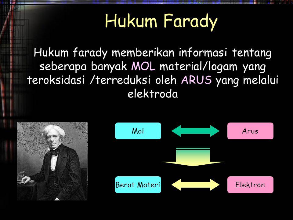 Hukum Farady Hukum farady memberikan informasi tentang seberapa banyak MOL material/logam yang teroksidasi /terreduksi oleh ARUS yang melalui elektrod