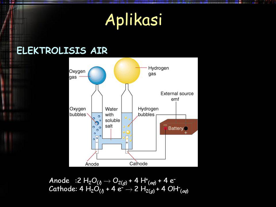 Aplikasi ELEKTROLISIS AIR Anode :2 H 2 O (l)  O 2(g) + 4 H + (aq) + 4 e – Cathode: 4 H 2 O (l) + 4 e –  2 H 2(g) + 4 OH – (aq)