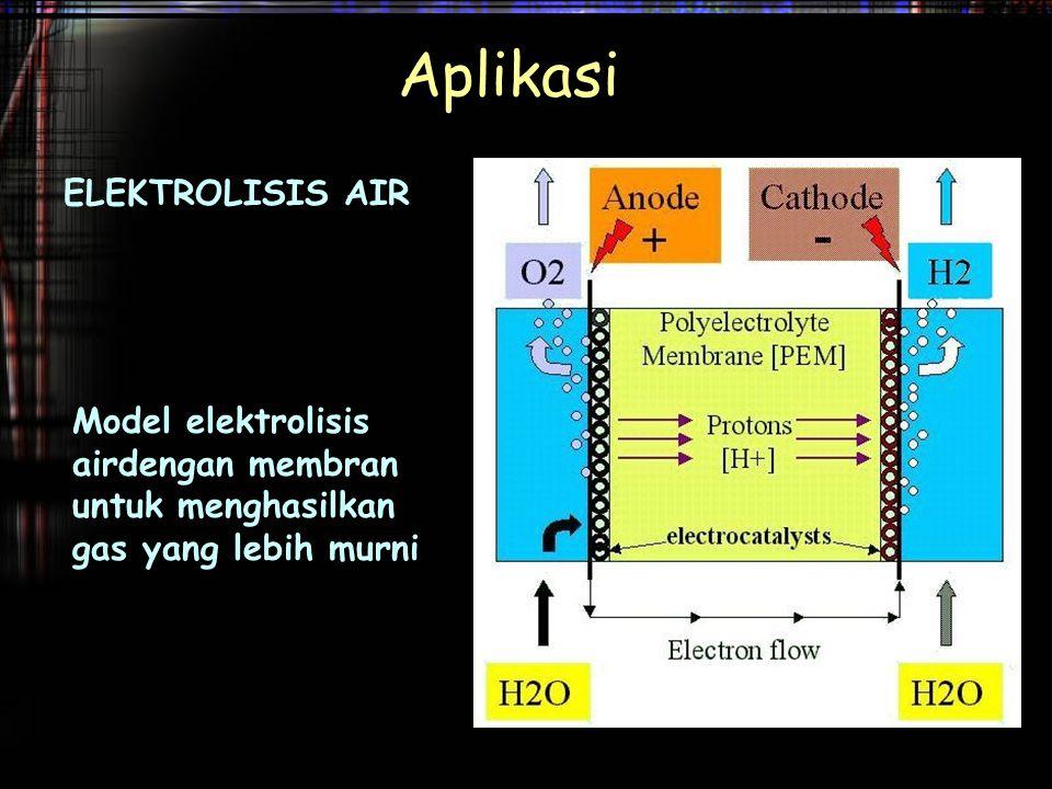 ELEKTROLISIS AIR Aplikasi Model elektrolisis airdengan membran untuk menghasilkan gas yang lebih murni
