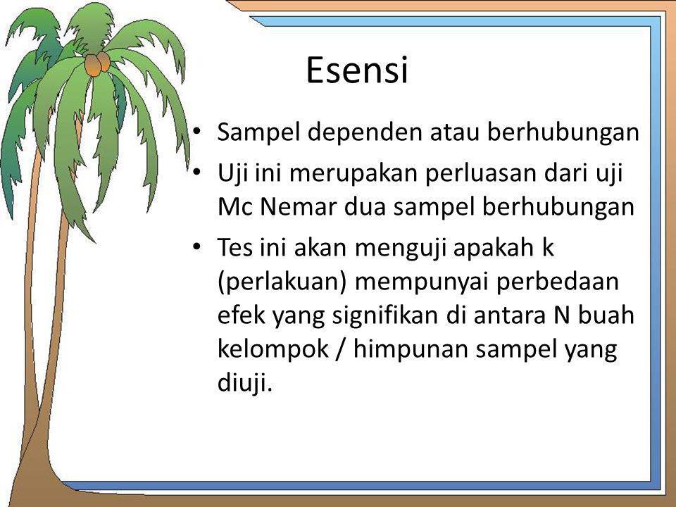 Esensi Sampel dependen atau berhubungan Uji ini merupakan perluasan dari uji Mc Nemar dua sampel berhubungan Tes ini akan menguji apakah k (perlakuan)