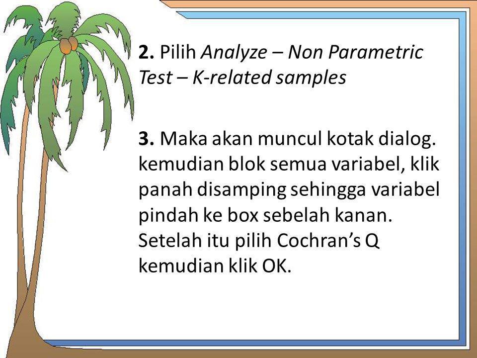 2. Pilih Analyze – Non Parametric Test – K-related samples 3. Maka akan muncul kotak dialog. kemudian blok semua variabel, klik panah disamping sehing