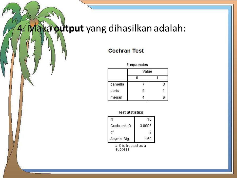 4. Maka output yang dihasilkan adalah: