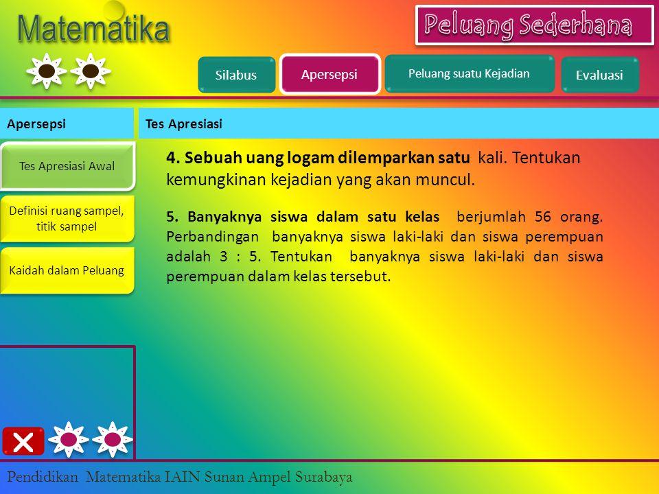 Evaluasi << Pilihan Ganda 11 dari 20 Pendidikan Matematika IAIN Sunan Ampel Surabaya A B C D Jawaban Anda : Nilai Anda : {MH, MK, MP, HM, KM, PM} 11.