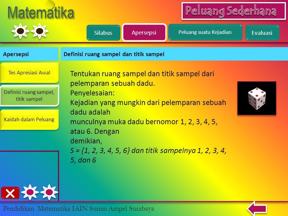 Silabus Apersepsi Definisi ruang sampel dan titik sampel Definisi ruang sampel, titik sampel Definisi ruang sampel, titik sampel Pendidikan Matematika IAIN Sunan Ampel Surabaya Kaidah dalam Peluang Tentukan ruang sampel dan titik sampel dari pelemparan sebuah dadu.