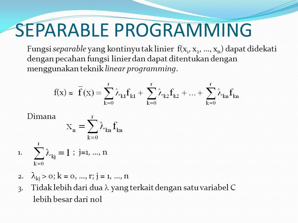SEPARABLE PROGRAMMING Fungsi separable yang kontinyu tak linier f(x 1, x 2, …, x n ) dapat didekati dengan pecahan fungsi linier dan dapat ditentukan dengan menggunakan teknik linear programming.