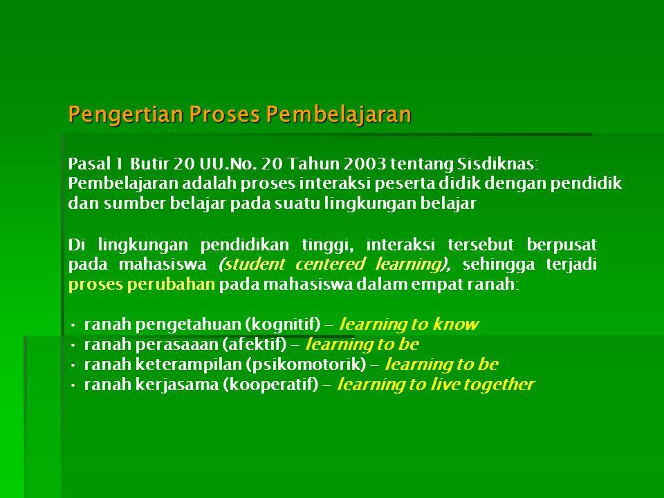 Pengertian Proses Pembelajaran Pasal 1 Butir 20 UU.No. 20 Tahun 2003 tentang Sisdiknas: Pembelajaran adalah proses interaksi peserta didik dengan pend