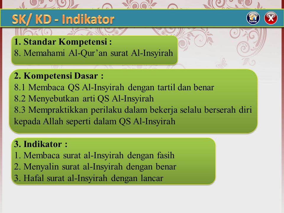 1.Standar Kompetensi : 8. Memahami Al-Qur'an surat Al-Insyirah 2.
