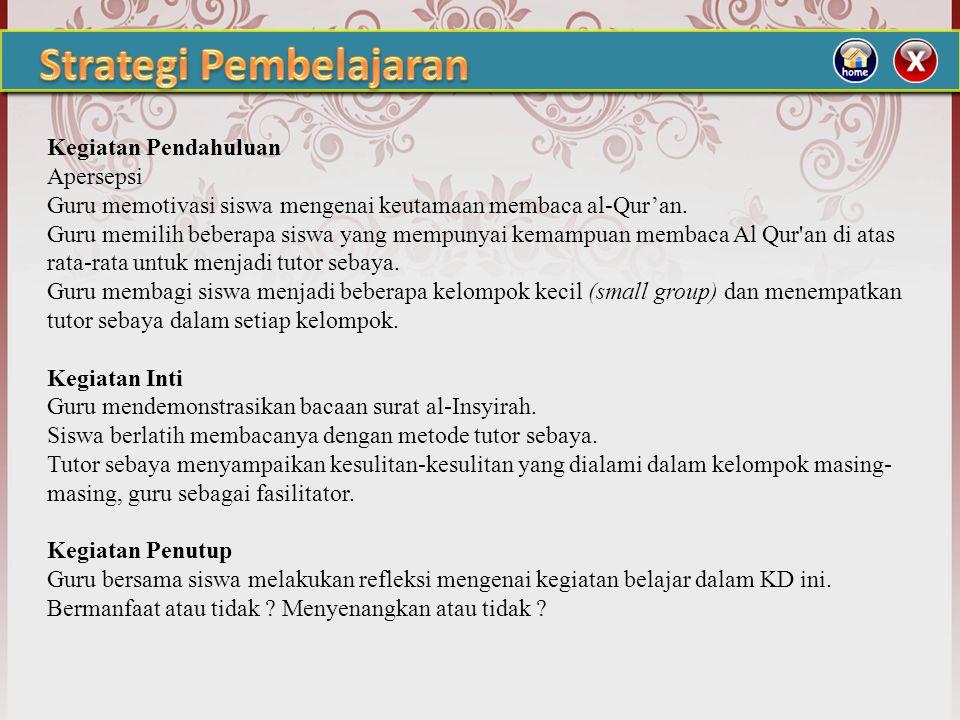 1. Standar Kompetensi : 8. Memahami Al-Qur'an surat Al-Insyirah 2. Kompetensi Dasar : 8.1 Membaca QS Al-Insyirah dengan tartil dan benar 8.2 Menyebutk