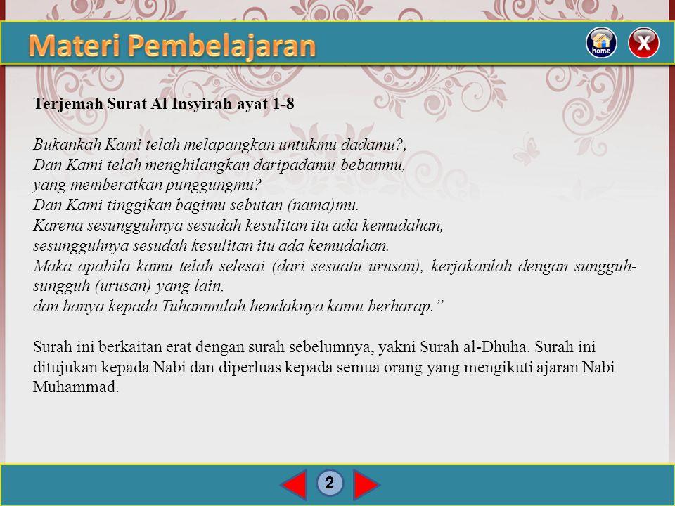 2 Terjemah Surat Al Insyirah ayat 1-8 Bukankah Kami telah melapangkan untukmu dadamu?, Dan Kami telah menghilangkan daripadamu bebanmu, yang memberatkan punggungmu.