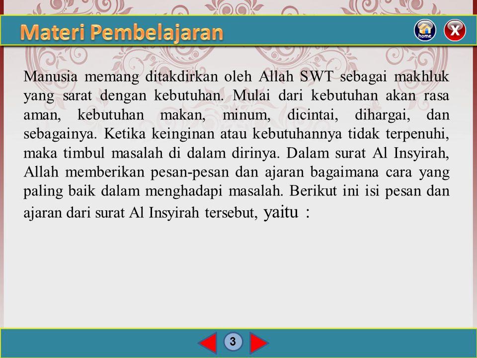 2 Terjemah Surat Al Insyirah ayat 1-8 Bukankah Kami telah melapangkan untukmu dadamu?, Dan Kami telah menghilangkan daripadamu bebanmu, yang memberatk