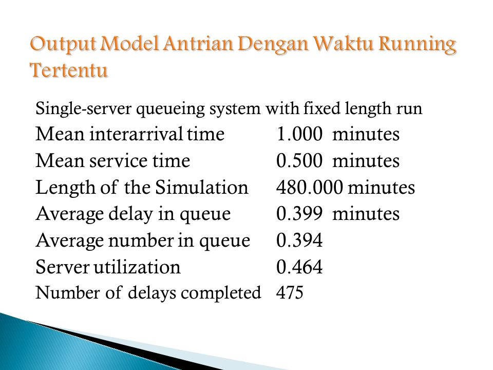 Single-server queueing system with fixed length run Mean interarrival time1.000 minutes Mean service time0.500 minutes Length of the Simulation480.000 minutes Average delay in queue0.399 minutes Average number in queue0.394 Server utilization0.464 Number of delays completed475