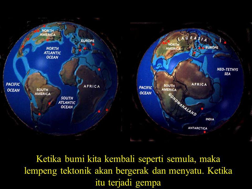 Ketika bumi kita kembali seperti semula, maka lempeng tektonik akan bergerak dan menyatu.