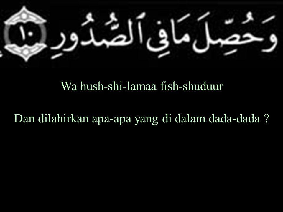 Wa hush-shi-lamaa fish-shuduur Dan dilahirkan apa-apa yang di dalam dada-dada ?