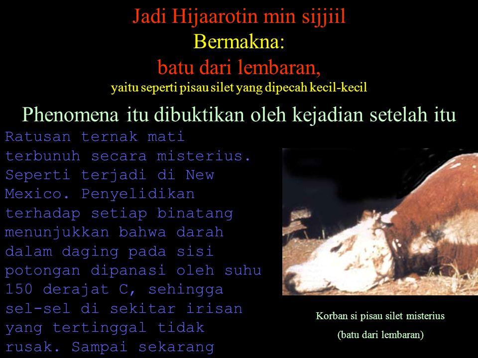 Jadi Hijaarotin min sijjiil Bermakna: batu dari lembaran, yaitu seperti pisau silet yang dipecah kecil-kecil Phenomena itu dibuktikan oleh kejadian se