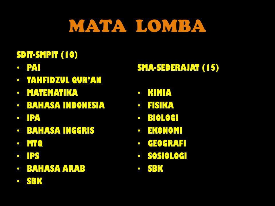 MATA LOMBA SDIT-SMPIT (10) PAI TAHFIDZUL QUR'AN MATEMATIKA BAHASA INDONESIA IPA BAHASA INGGRIS MTQ IPS BAHASA ARAB SBK SMA-SEDERAJAT (15) KIMIA FISIKA BIOLOGI EKONOMI GEOGRAFI SOSIOLOGI SBK