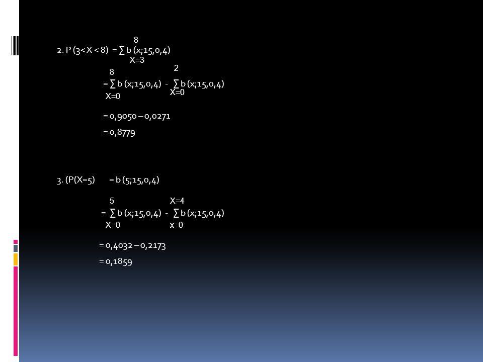 2.P (3< X < 8) = ∑ b (x;15,0,4) = ∑ b (x;15,0,4) - ∑ b (x;15,0,4) = 0,9050 – 0,0271 = 0,8779 3.