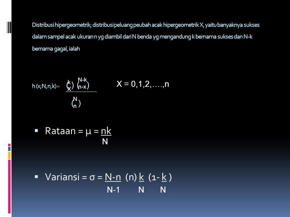 Distribusi hipergeometrik; distribusi peluang peubah acak hipergeometrik X, yaitu banyaknya sukses dalam sampel acak ukuran n yg diambil dari N benda yg mengandung k bernama sukses dan N-k bernama gagal, ialah h (x;N,n,k) = ( ) ( ) ( )  Rataan = μ = nk  Variansi = σ = N-n (n) k (1- k ) k X N-k n-x NnNn X = 0,1,2,….,n N-1NN N