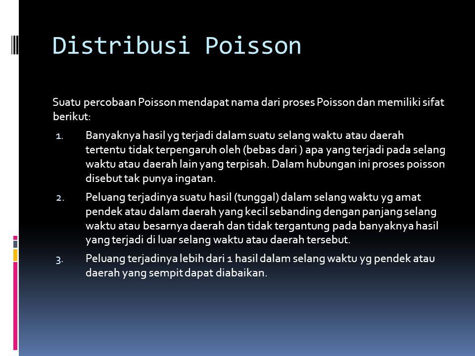 Distribusi Poisson Suatu percobaan Poisson mendapat nama dari proses Poisson dan memiliki sifat berikut: 1.