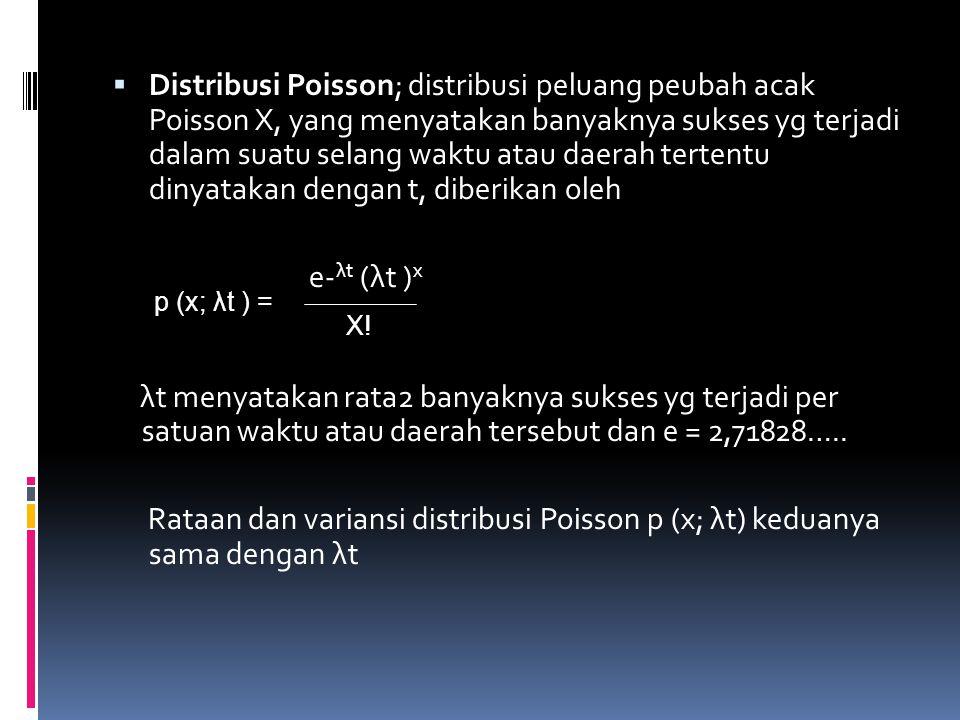  Distribusi Poisson; distribusi peluang peubah acak Poisson X, yang menyatakan banyaknya sukses yg terjadi dalam suatu selang waktu atau daerah tertentu dinyatakan dengan t, diberikan oleh e- λt (λt ) x λt menyatakan rata2 banyaknya sukses yg terjadi per satuan waktu atau daerah tersebut dan e = 2,71828…..
